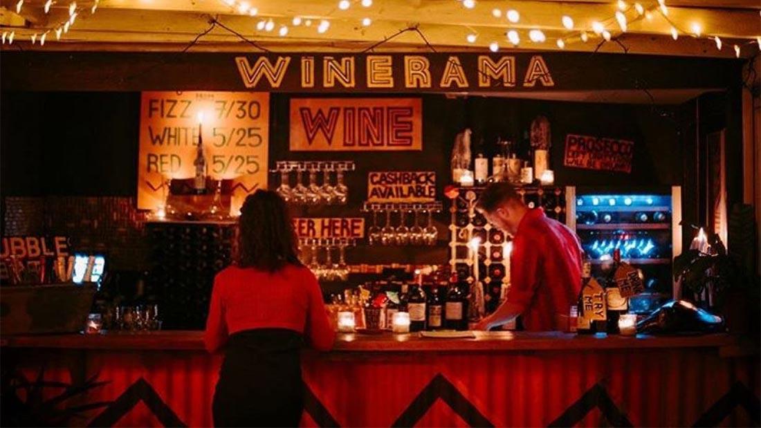Winerama, en italiensk vinbar på Dinerama