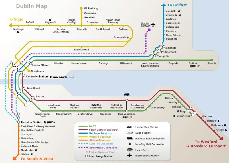 Oversikt over de lokale togrutene i Dublin.