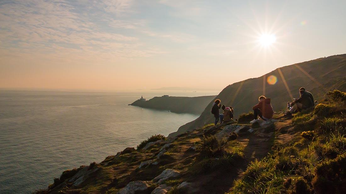 Kodak-moment ved Howth, med Baily Lighthouse i bakgrunnen.